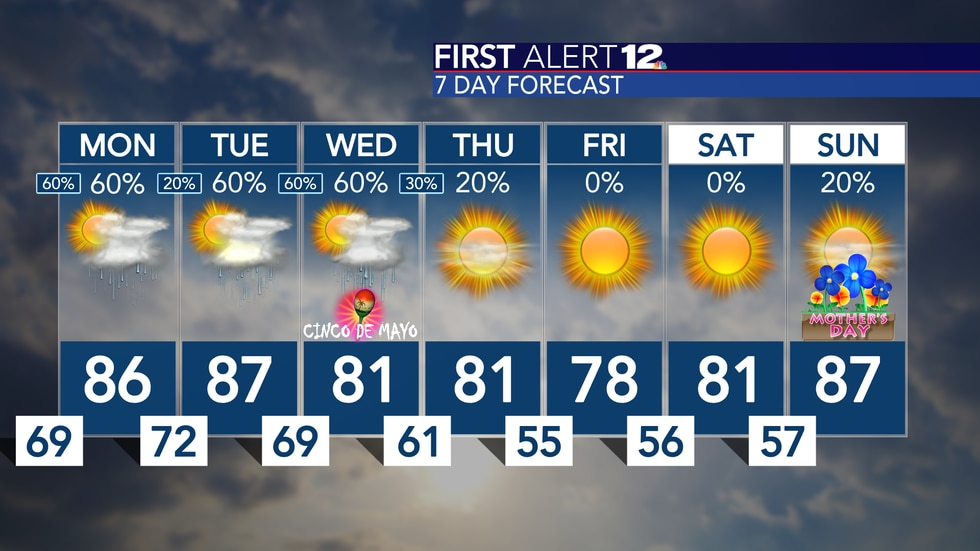 Storms likely late Sunday