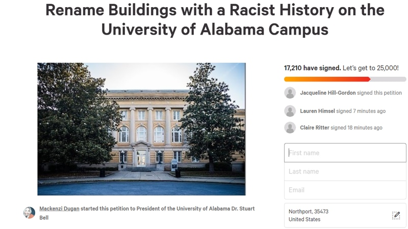 Rename Buildings with a Racist History on the University of Alabama Campus, that's the name of...