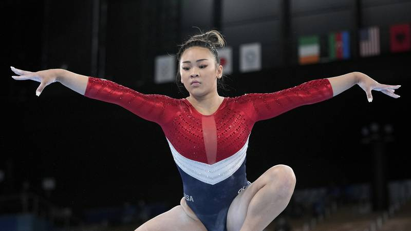 Sunisa Lee, of the United States, performs on the balance beam during the artistic gymnastics...