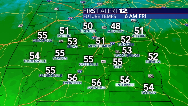 It will crisp Friday morning in the lower 50s.
