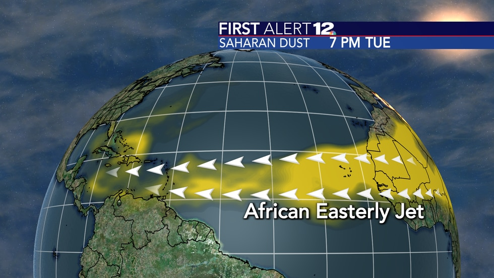 The Saharan dust concentration over the Atlantic Ocean at 7 p.m. CDT June 22nd, 2021.