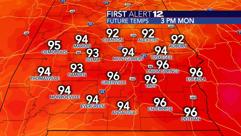 Highs head well into the 90s beginning this weekend.
