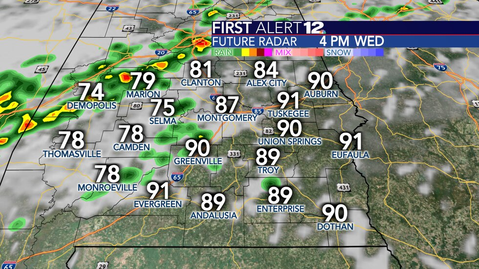 A few scattered showers and storms are expected Wednesday.
