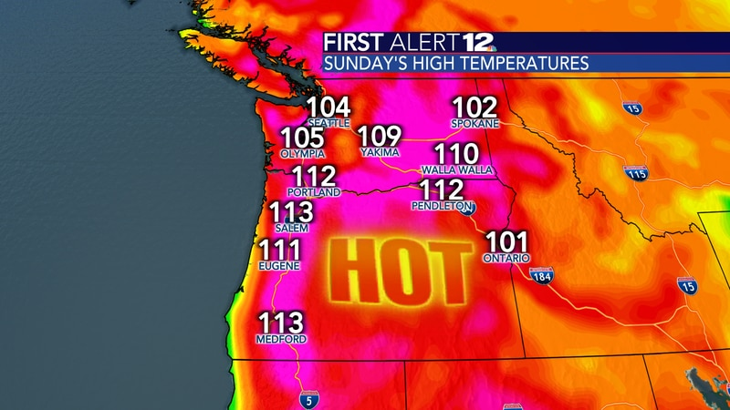 Multiple all-time record highs were broken and even shattered on Sunday in Washington and Oregon.